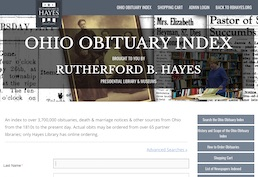 landing page R.B. Hayes Ohio Obituary Index